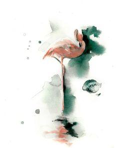 Pink Flamingo Wall Art Watercolor Painting Art von CanotStopPrints