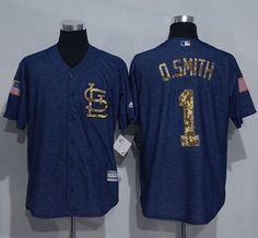 Cardinals #1 Ozzie Smith Denim Blue Salute to Service Stitched MLB Jersey