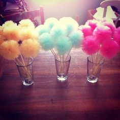 Items similar to Party Pom Picks - small tulle pom pom decorations, cake toppers, wedding favors - 34 color choices on Etsy Tulle Wedding, Diy Wedding, Wedding Favors, Pom Pom Decorations, Wedding Decorations, Yarn Crafts, Diy And Crafts, Tulle Poms, Pom Poms