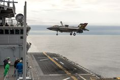 An F-35B test aircraft comes in for a vertical landing aboard the USS Wasp on Aug. 19, 2013 during Developmental Test Phase Two for the F-35B. The second phase of ship trials expanded the operations envelope around the ship for F-35s in short takeoff/vertical landing mode.