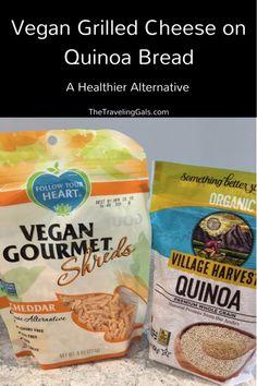 Vegan Grilled Cheese On Quinoa Bread Recipe - The Traveling Gals Pork Recipes, Fish Recipes, Seafood Recipes, Bread Recipes, Vegetarian Recipes, Snack Recipes, Healthy Recipes, Dinner Recipes, Quinoa Bread