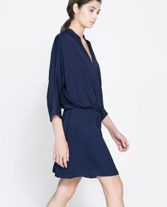 #ZARA  DRESS WITH CROSSOVER NECKLINE