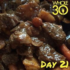 """This delicious beef stew is so hitting the spot on this dreary cold day! This recipe is based on a pot roast recipe on my blog from 2012 (Balsamic and Tomato Pot Roast). I made a few tweaks so I may post this as a separate recipe soon. Happy Sunday!  #whole30 #whole100 #CTLTwhole100 #whole30homies #2015IGwhole30 #eatrealfood #cleaneating #jerf #healthy #mealideas #paleo #recipe #blog #considertheleafTURNED #day21"" Photo taken by @considertheleafturned on Instagram, pinned via the InstaPin…"