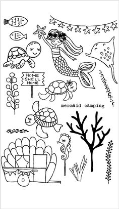 Lets go camping in the sea! Approximate measures: shell camper x mermaid x Coordinating dies: 30054 Mermaid Camping Die Bullet Journal Mood, Bullet Journal Ideas Pages, Bullet Journal Inspiration, Doodle Drawings, Easy Drawings, Doodle Art, Simple Doodles, Cute Doodles, Mermaid Drawings