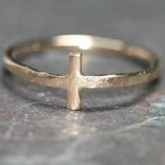 Small Gold Cross Pinky Ring US Size 3 by Maggie McMane Designs