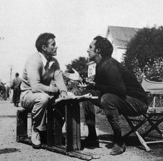 James Dean going over lines on set of East Of Eden