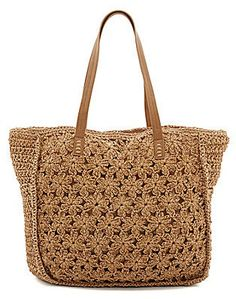 Straw Studios Woven Straw Floral Crochet Beach Tote