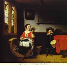 Nicolaes Maes. Naughty Little Drum-Player. 1656-57
