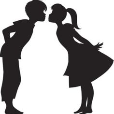 This clipart illustration shows a silhouette of a boy and girl kissing. The image is in black and white and shows two young people, a boy and girl, leaning in for a first kiss. This clipart image was created by Rosie Piter for Acclaim Images. Kissing Silhouette, Wedding Silhouette, Girl Silhouette, Silhouette Studio, Stencil Patterns, Stencil Designs, First Kiss, Clipart Images, Paper Cutting