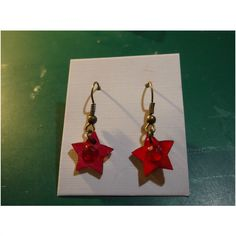 Red Wooden Star Earrings Handmade