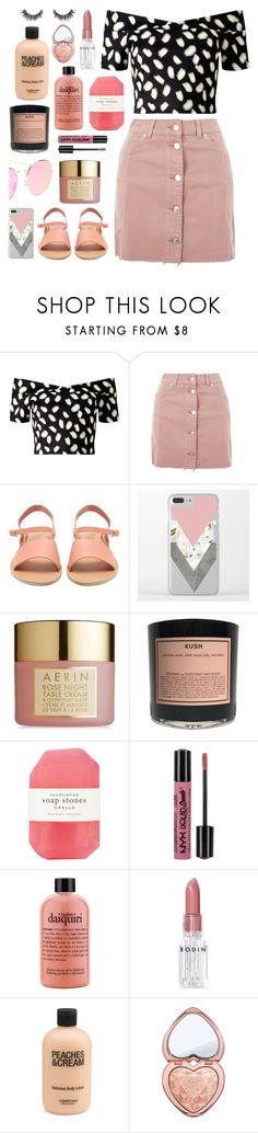 """Aerin"" by tiahtt ❤ liked on Polyvore featuring Miss Selfridge, Topshop, Ancient Greek Sandals, AERIN, Boy Smells, Pelle, NYX, philosophy, Rodin and Too Faced Cosmetics"