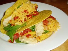 #Tacos #Chicken #Hard #Shell: Crunchy Corn Tortilla shells filled with Chicken cubes, beans and cheese.