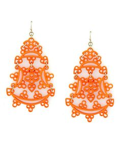 Look what I found on #zulily! Orange Lacy Drop Earrings by Jessica Simpson Collection #zulilyfinds