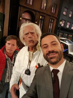 Jimmy Kimmel takes a selfie with Doc Brown and Marty McFly - October 21st 2015