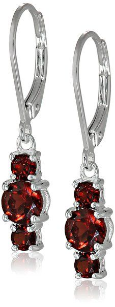 Sterling Silver Garnet Three-Stone Dangle Earrings | Earrings------------  Gemstones may have been treated to improve their appearance or durability and may require special care.------- Beautiful,Elegant and Pretty Earrings suitable for Wedding,Casual and Work Wear in Summer/Spring 2016---------