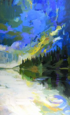 Awesome Rawson, acrylic landscape painting by Becky Holuk | Effusion Art Gallery + Glass Studio, Invermere BC River Painting, Boat Painting, Modern Art, Contemporary Art, Mountain Paintings, Canadian Artists, Landscape Paintings, Art Gallery, Studio