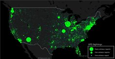 A Very Detailed Map of UFO Sightings. Based on data from theNational UFO Reporting Center,the map below displays over90,000 reports of UFO sightings dating back to 1905. Each circle corresponds toa reported UFO, with the size representing the number of reports received. …