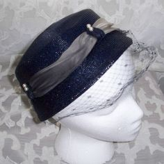 Vintage 1960s Hat Mod Blue Pillbox with Faux by 4dollsintime, $24.50