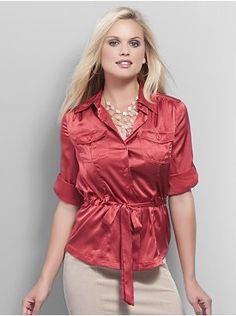 Silky Front Tie Shirt