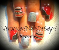 Red & black Nails by Veronica's Nails design