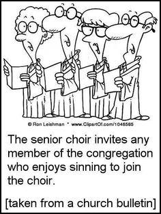 All sinners welcome. Singers too.