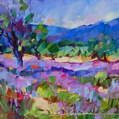 """""""High on Lavender"""" by Dreama Tolle Perry in HomeGrownBeauty on Dreama's Print Shop. Love painting and this ones so full of emotions! Framed Wall Art, Wall Art Prints, Fine Art Prints, Framed Prints, Canvas Prints, Buy Prints, Landscape Art, Landscape Paintings, Landscapes"""