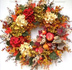 Fall Wreath, Hydrangea Wreath, Fruit Wreath, Tuscan Wreath, Sage Green, Cinnamon Red, Parchment Beige, Apples Pears, Thanksgiving Wreath, Housewarming Gift, HmHteam Handcrafted, on a grapevine base, this is a full and very colorful wreath...filled with hydrangeas, assorted fall leaves, a fruit spray with apples, pears and grapes with colorful leaf accents, wildflowers, boxwood, fall flax peppergrass and more.... Wreath measures approximately: 24+ X 24+ this is the bulk of the wreath-- leaves…