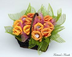 Orange Candy Bouquet Candy Basket Easter Basket by Tatiana's Tienda, $54.00