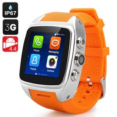 IMacwear SPARTA M7 Smart Watch Phone – IP67 Waterproof Rating, 1.54 Inch Touch Screen, Android 4.4 OS, Dual Core CPU, 3G (Orange) - Mobile Shop