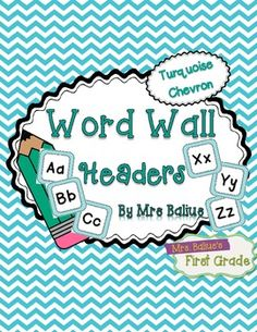 Word Wall Header {Turquoise Chevron} Upper and Lower Case