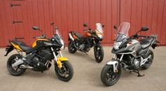 Honda NC700X vs. Kawasaki Versys vs. Suzuki V-Strom 650 ABS - these motorcycles were compared in the November 2012 issue of Rider magazine.