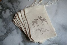 Wedding favor bags, muslin, 3x5. Set of 50.  Brown deer Mr and Mrs. on natural cotton.  Woodland wedding accent.. $50.00, via Etsy.
