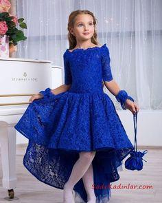 0c962d775bc1c 2019 Çocuk Abiye Modelleri Saks Mavi Ön Kısa Arka Uzun Etekli Yetim Kol  Dantel