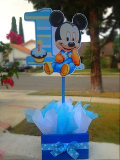 Baby Mickey Mouse guest table centerpiece favor for Birthday or themed Baby Shower Baby Mickey Mouse, Minnie Mouse Birthday Theme, Mickey 1st Birthdays, Fiesta Mickey Mouse, Mickey Party, 1st Boy Birthday, 1st Birthday Centerpieces, Mickey Mouse Centerpiece, Baby Shower Themes
