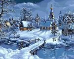 [Frameless] Painting By Numbers--Christmas Snow Landscape
