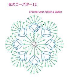 花のコースター12【かぎ針編み】編み図・字幕解説 Crochet Flower Coaster / Crochet and Knitting Japan https://youtu.be/myACbfEpGY0 長編みと長編み2目の玉編みで編む、8枚の花びらのコースターです。 鎖編み、細編み、長編み、玉編み、引き抜き編みで編みます。 ★編み図はこちらをご覧ください ★