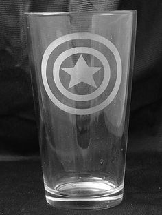 etched pint glass with Captain America Shield.