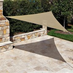 The high density polypropylene knitted fabric of this Coolaroo Triangular Shade Sail protects you and your guests from the suns harmful rays by blocking 90 of UVA and UVB rays. perfect for the backyard, patio, pool area, or for camping. Small Backyard Landscaping, Backyard Garden Design, Backyard Retreat, Ponds Backyard, Backyard Patio, Backyard Ideas, Small Pergola, Patio Ideas, Pergola Patio