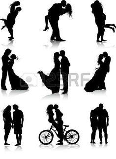 Couples romantiques silhouettes Banque d