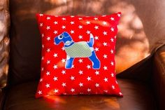 """This little chap can be as cheeky or as serious as you like. He is a proud chap and likes to have a serious moment, but also has a naughty side and can be a colourful fella when needed!! Cushion size 16x16"""""""
