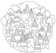 ☮ American Hippie Art ~ Coloring Pages .. Mandala ville
