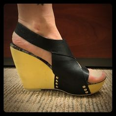 Joe's Leather wedges These are AMAZING wedges that are super comfortable & adorable!  Black leather upper, sunny yellow wedge and fun coloring on edges and foot bed.  Very good used condition!!!!! Joe's Jeans Shoes Wedges