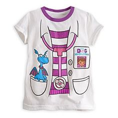 Disney Doc McStuffins Costume Tee for Girls   Disney StoreDoc McStuffins Costume Tee for Girls - Examine this lavender-trimmed ''lab coat'' tee, with glittering graphics that look just like Doc McStuffins' uniform on TV! It's sure to make little doctors-to-be feel good all day long!