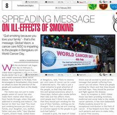 #checkout recent #worldcancerday #cancerday #4feb updates of #GlobalVisionNGO (A #cancer #NGO) #jagrancityplus #JagranCityPlusBangalore #bangalore #cancerawarness #WorldCancerDay2015 #cancerfree #quitsmoking http://bit.ly/16t0Vjj