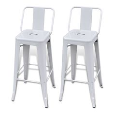 White Metal Bar Stools 2 Piece Square High Chair Back Kitchen Office Shop Chairs for sale online Buy Bar Stools, High Bar Stools, Metal Bar Stools, Swivel Bar Stools, Bar Chairs, Office Chairs, Office Chair Without Wheels, Chaise Bar, Adjustable Bar Stools