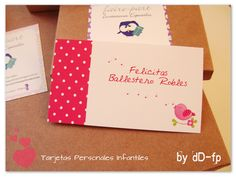 Tarjetas Personales Infantiles ♥ https://www.facebook.com/FairepartInvitaciones?pnref=lhc