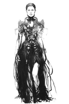 Black & white fashion illustration of an Alexander McQueen dress // Diana Kuksa