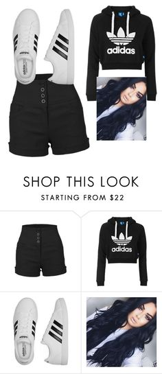 """OUT AND ABOUT"" by gabbyackles ❤ liked on Polyvore featuring LE3NO, Topshop and adidas"