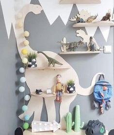 How cute are these animal shaped shelf to decorate a kid's room? Boys Dinosaur Bedroom, Dinosaur Room Decor, Boy Toddler Bedroom, Boys Bedroom Decor, Boy Room, Dinosaur Kids Room, Childrens Bedrooms Boys, Kids Bedroom Boys, Bedroom Ideas