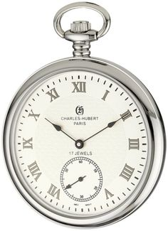 Charles-Hubert, Paris 3912-W Premium Collection Stainless Steel Pocket Watch